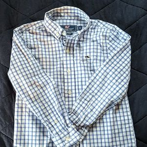 Boy's VV Checked Button Down - Blue/White